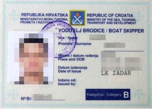 chorvatský kapitánský průkaz